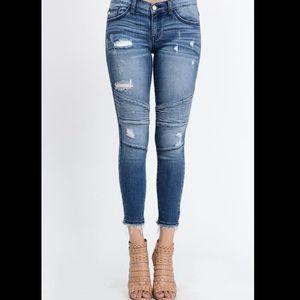 Denim - ✨Coming Soon✨ Dark Distressed Motto Jeans